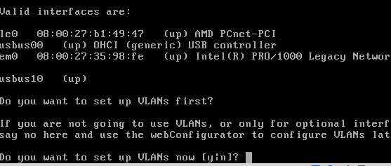 Screenshot: pfSense Install - Ethernet Card Detected