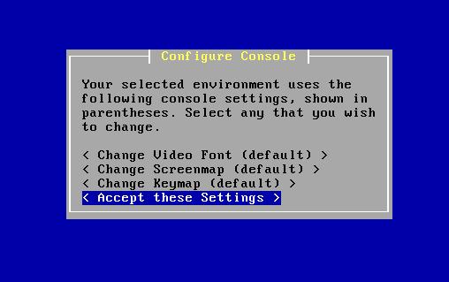 Screenshot: pfSense Install - Accept Settings