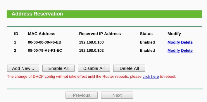 Screenshot of TP-Link TP-WR720N - Address Reservation