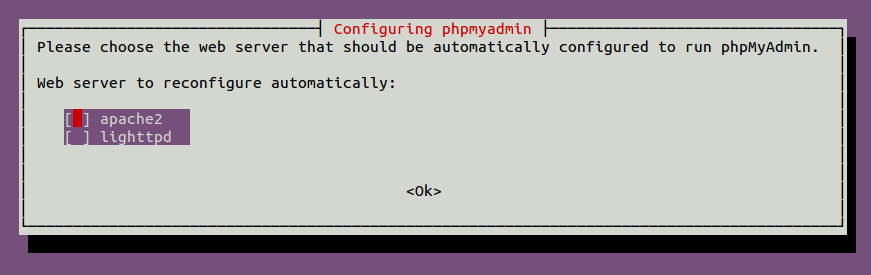 Screenshot of PHPMyAdmin Configuration During Install
