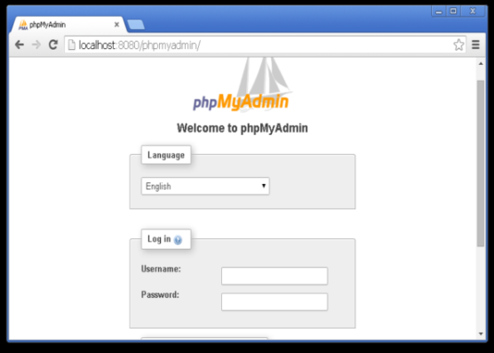 Screenshot of PHPMyAdmin on Local Host