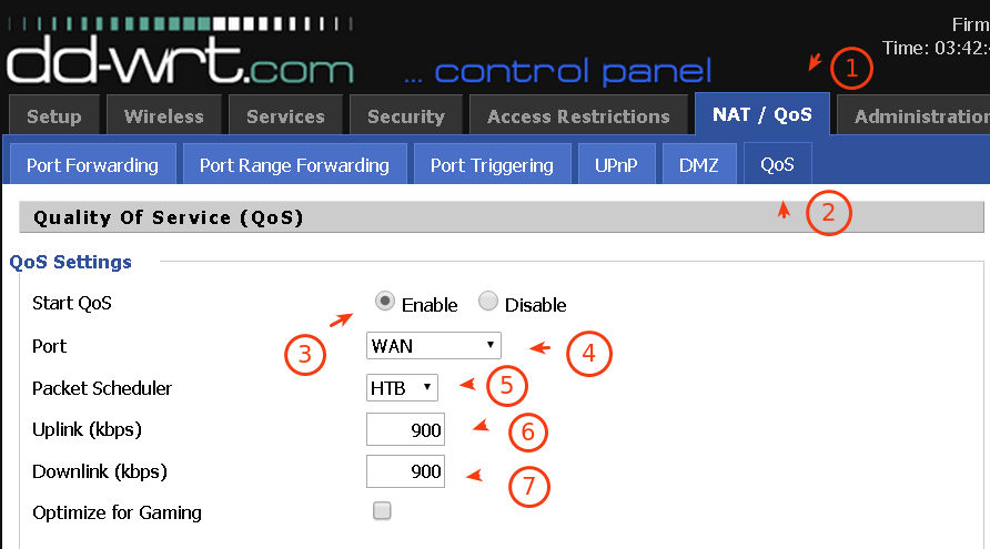 Screenshot of DD-WRT Quality of Service Page