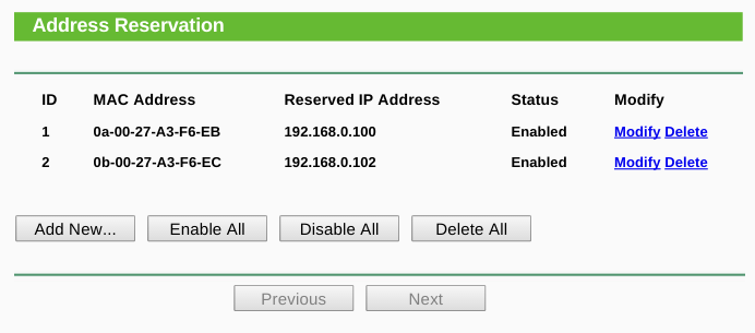 Screenshot of Static IP Address Reservation in TP-Link