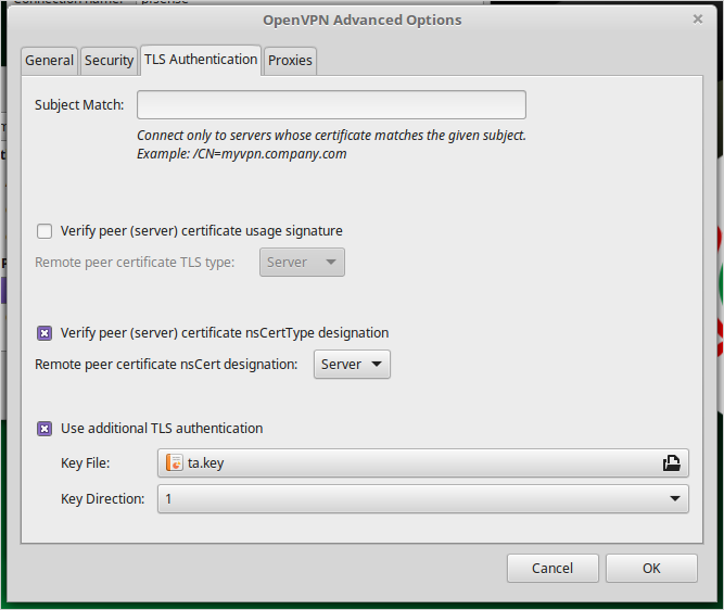 Reference Image - Linuxmint OpenVPN Connection Window - TLS Authentication Tab