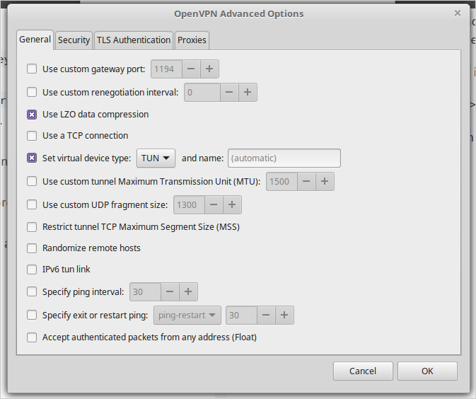 Reference Image - Linuxmint OpenVPN Connection Window - Advance Tab