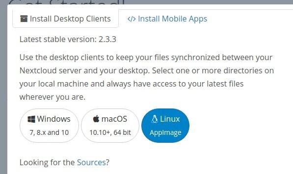Screenshot of Nextcloud Desktop Sync Client App Download Page