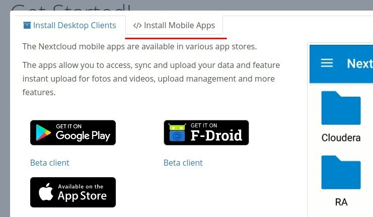 Screenshot of Nextcloud Mobile File Sync App Download Page