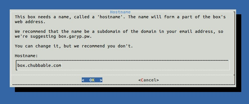 Reference Image: MiaB suggesting hostname to use