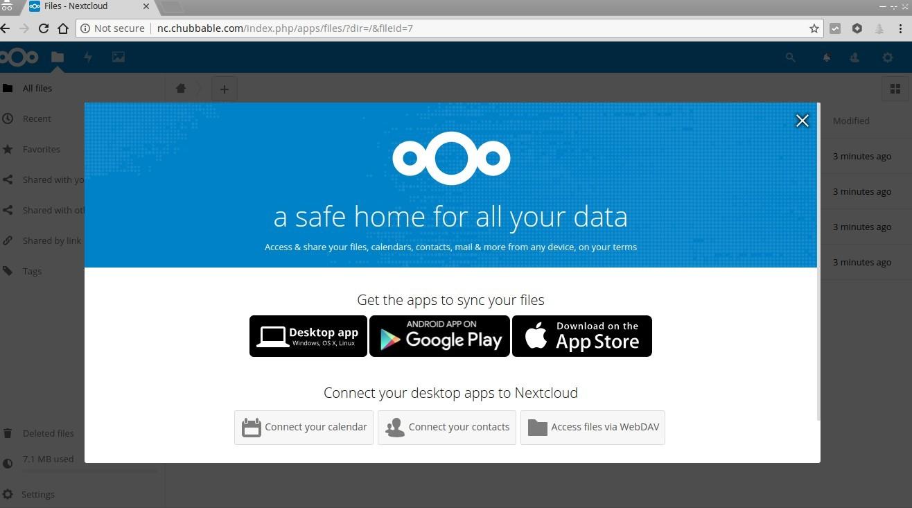 Screenshot of Nextcloud first Login