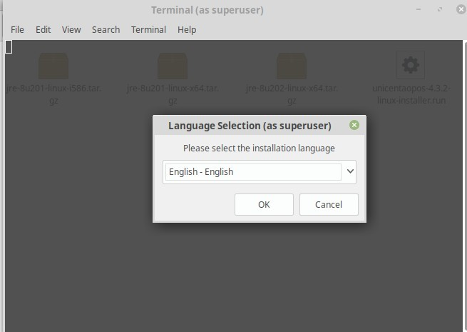 Reference Image: uniCenta Language Selection Dialogue