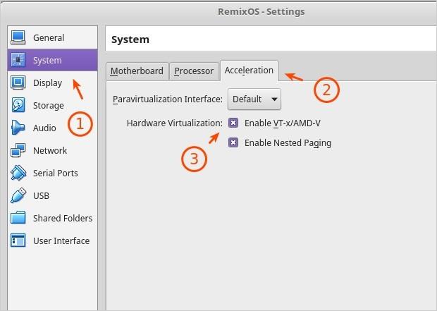 Screenshot - VirtualBox Settings for Remix OS