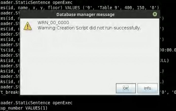 """Reference Image: Warning Dialogue """"Creation Script Did Not Run Successfully"""""""